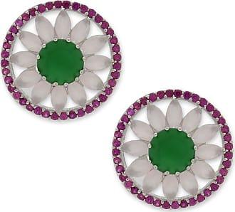 Renata Rancan Brinco Redondo Pequeno Cravejado Com Zircônias - Rosa Claro, Verde - Ródio Branco