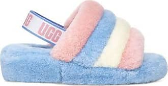 UGG Fluff Yeah Pride Slide in Stripes, Size W6 / M5, Shearling
