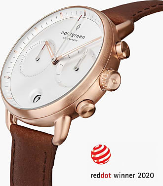 Nordgreen Pioneer | White Dial - Brown Leather - 42mm / Rose Gold