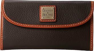 Dooney & Bourke Pebble Leather New SLGS Continental Clutch (Chocolate w/ Tan Trim) Clutch Handbags