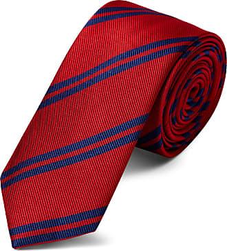 TND Basics Cravatta rossa in seta da 6 cm con motivo a righe blu d525649e0dc0
