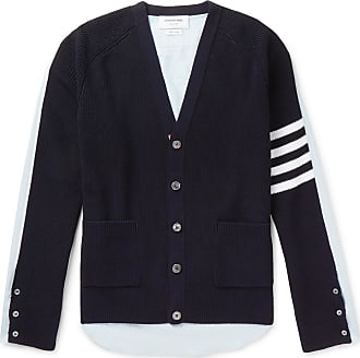 Thom Browne Striped Panelled Cotton Cardigan - Navy