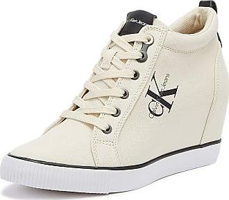 9fb801e385df Calvin Klein Jeans Ritzy Womens Wedge White Trainers-UK 6   EU 39