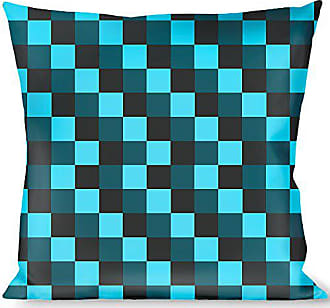 Buckle Down Pillow Decorative Throw Checker Trio Baby Blue Black Turquoise