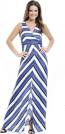 04f5863a9 101 Resort Wear Vestido Longo 101 Resort Wear Festa Estampado Crepe  Listrado Azul