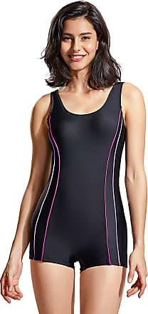 Delimira Womens Slimming Boyleg One Piece Swimsuit Modest Swimwear Black 20