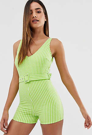 Warehouse x Shrimps swim playsuit with belt in gingham-Green