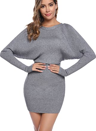 Aibrou Women Crew Neck Sweater Dress,Long Sleeve Soft Warm Vintage Knit Stretchable Elasticity Slim Fit Jumper Body Con One Piece Dress(Gray XXL)