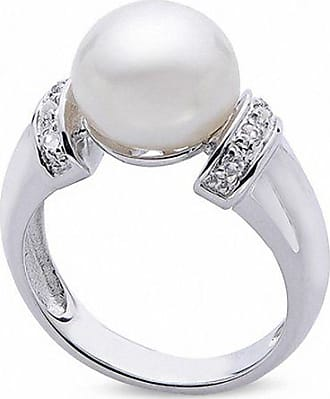 Zales 9.0 - 10.0mm Button Cultured Freshwater Pearl and White Topaz Collar Ring in Sterling Silver