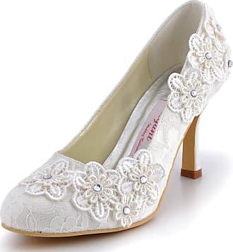 Elegantpark EP11099 Women Almond Toe Pumps Stiletto Heels Rhinestones Appliques Lace Wedding Court Shoes Ivory UK 6(EU 39)