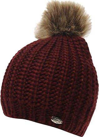 Firetrap Ladies Stylish Pom Pom Beanie Hat Headwear Accessories (Burgundy, One Size)