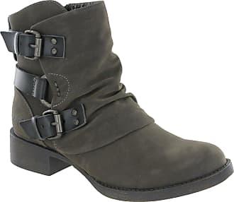 Blowfish Korrekt Ankle Biker Boots Buckle Detail Zip Up Fashion Shoes (UK 4 EU 37, Grey)