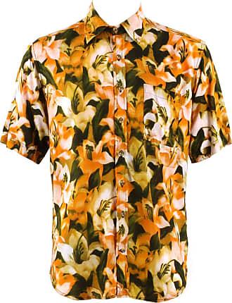 Loud Elephant Regular Fit Short Sleeve Shirt - Orange & Green Lily Floral (14.5)