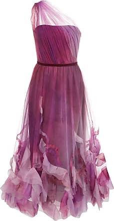 Marchesa one shoulder tulle midi dress - PURPLE