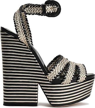 Sergio Rossi Sergio Rossi Woman Metallic Woven Leather Platform Sandals Platinum Size 36.5