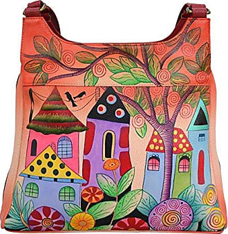Anuschka Genuine Leather Triple Compartment Satchel | Hand Painted Original Artwork | Village of Dreams