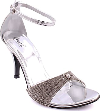 b4ce2480029 Unze Unze Women Coco Shimmery Ankle Strap Shimmer Textured Buckle Closure  Party Slip On Evening Carnival