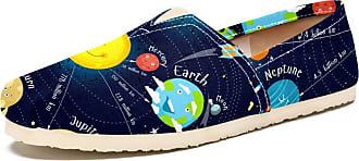 Tizorax Slip on Loafer Shoes for Women Cartoon Solar System with Stars Comfortable Casual Canvas Flat Boat Shoe
