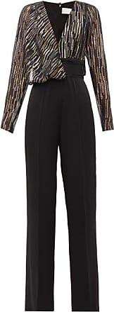 Peter Pilotto Metallic Fil-coupé Silk-blend Jumpsuit - Womens - Black