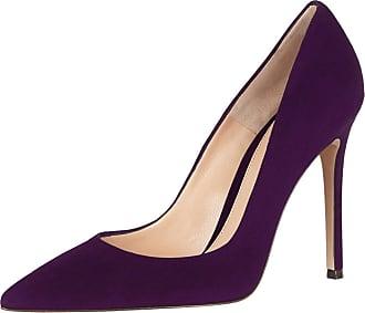 EDEFS Womens Pointed Toe Slip On Court Shoes High Heel Office Dress Pumps Purple Size EU43