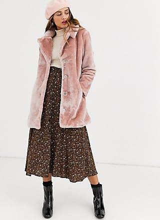 Qed London Mantel aus Kunstpelz in Blush-Rosa