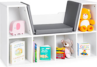 Best Choice Products Multi-Purpose 6-Cubby Kids Bedroom Storage Organizer Bookcase w/ Cushioned Reading Nook - White
