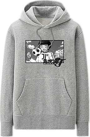 Haililais Captain Tsubasa Pullover Hoodie Popular Sweatshirt Simple Leisure Printed Pullover Long Sleeve Tops with Pocket Unisex (Color : Grey01, Size : Height-