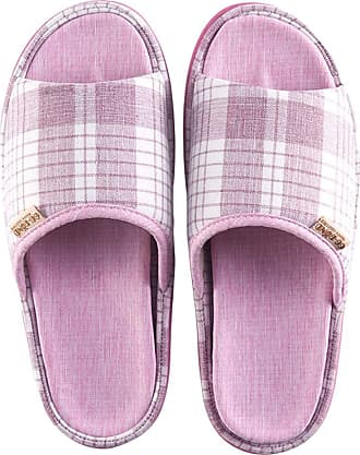 Insun Women Casual Cotton Flax Slippers Indoor Use Shoes Light Purple