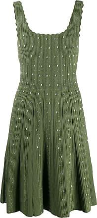 Sandro Vestido canelado de tricô com aplicação - Verde