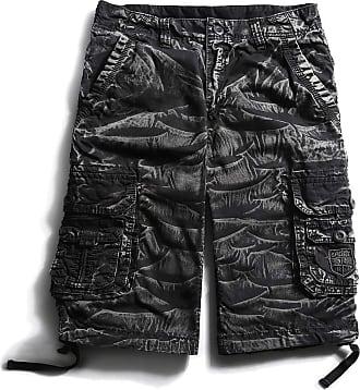 OCHENTA Mens Cotton Loose Fit Multi Pocket Cargo Shorts - Multi - 36