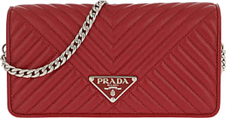 b039260a04f25 Prada Mini Crossbody Bag Quilted Leather Red Umhängetasche rot