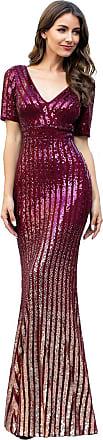 Ever-pretty Womens V Neck Floor Length Short Sleeve Gradient Stripe Sequin Mermaid Prom Evening Dresses Burgundy 20UK