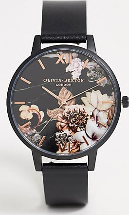 Olivia Burton Shoreditch leather watch with dark floral dial-Black