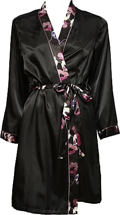 M/&S Black Floral Satin Ladies Robe Dressing Gown SIZE 10 12 14 16