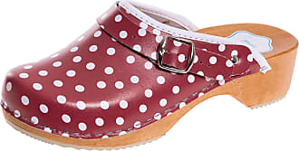 FUTURO FASHION Womens Healthy Natural Genuine Leather Wooden Sole Plain Clogs Unisex Colours, Red/ White Dots, 7 UK