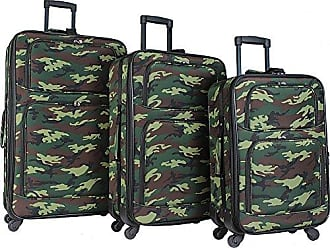 World Traveler 3-Piece Rolling Expandable Spinner-Green Camouflage, Green Camo