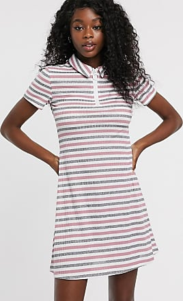 Urban Bliss zip front dress in stripe-Multi