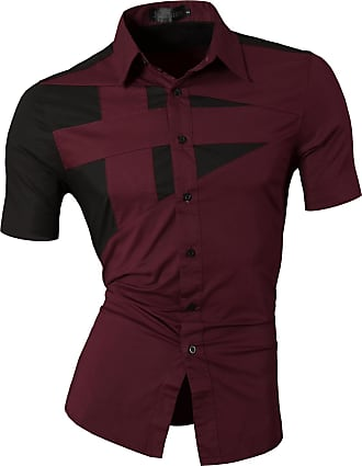 Jeansian Mens Fashion Short Sleeves Shirts Casual Slim Fit Dress Tops Pocket Office Z002 WineRed XXL