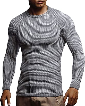 LEIF NELSON Mens Pullover Knit Sweater fine Knit Crew Neck LN-20746 Grey XX-Large