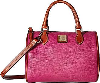 Dooney & Bourke Pebble Trudy Satchel (Magenta/Tan Trim) Handbags
