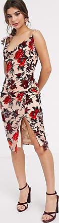 In The Style x Meggan Grubb cowl front cami strap devore midi dress in red multi floral