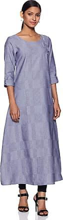 Aurelia Womens Cotton A-Line Kurta (19FEA10690-700306_ Grey_ Large)