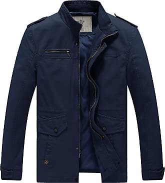 WenVen Mens Stand Collar Military Jackets Navy X-Large