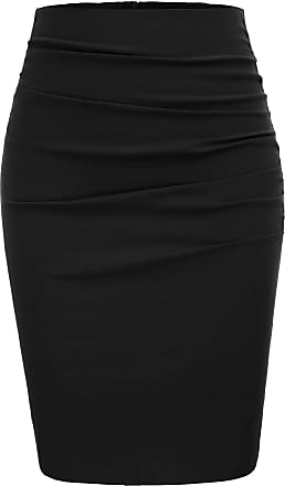 Grace Karin Vintage Skirt Ladies Etui Skirt Knee Length Bodycon Skirt Fashion Winter Skirt CL866-1 M Black