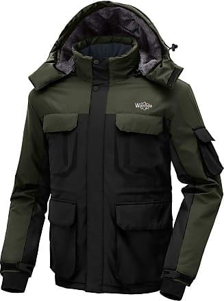Wantdo Mens Warm Ski Jacket Hooded Mountain Waterproof Winter Coat Windproof Raincoat Outdoors Parka Black Army Green S