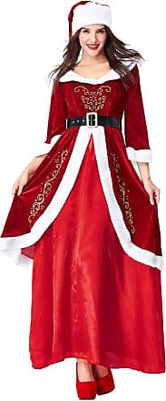 JERFER Xmas Christmas Women Off Shoulder Long Sleeve Mini Dresses Santa Claus Bodycon Dresse S-2XL Mini Dress (Large, Red 1)