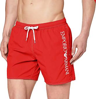 Emporio Armani Mens Boxer Beachwear Embroidery Logo Swim Trunks, Red (Fiamma 00175), Medium (Size: 50)