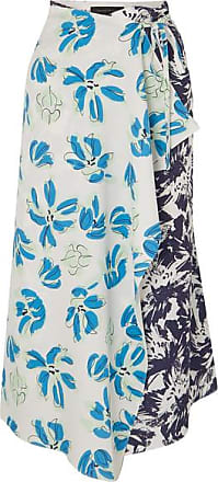 Roland Mouret Floral-print Cloqué And Crepe De Chine Wrap Skirt - Blue