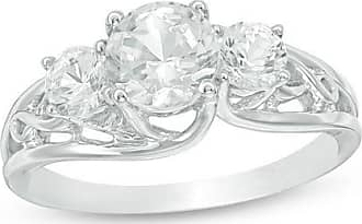 Zales Lab-Created White Sapphire Three Stone Bypass Infinity Engagement Ring in Sterling Silver