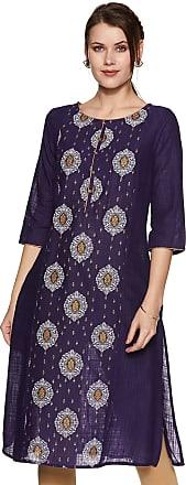 Aurelia Womens Cotton a-line Kurta (19FEA10444-500177_ Purple_ Large)